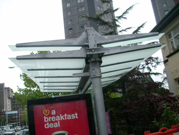 Stainless Steel Bus Station Stop Shelter / Canopies / Awnings