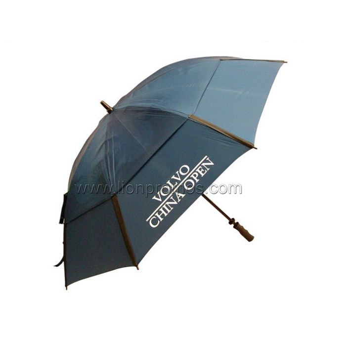 Hotel Logo Fiberglass Frame Two Layers Windproof Golf Umbrella
