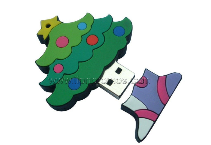 Christmas Gift PVC Custom Shape USB Flash Drive