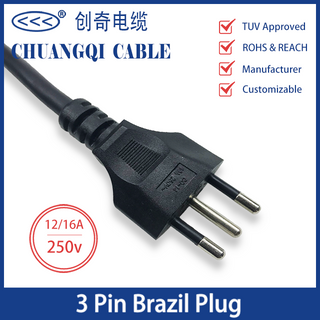 3 Pin Brazil Plug 12/16A Brazilian Inmetro Power Cord with Cable TUV Approved
