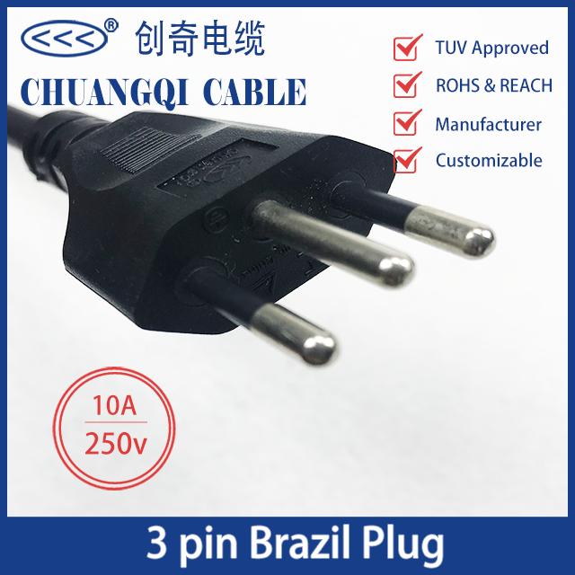3 Pin Brazil Plug Brazilian Inmetro Power Cord with Cable