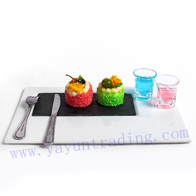 shot wine glass on porcelain slate platter