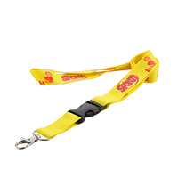 Polyester silk screen print lanyards with black plastic buckle and metal swivel hook