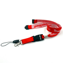 Red polyester lanyards with custom woven logo for id holder