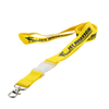 Yellow polyester lanyard with transparent plastic detachable buckle and metal hook for advertising