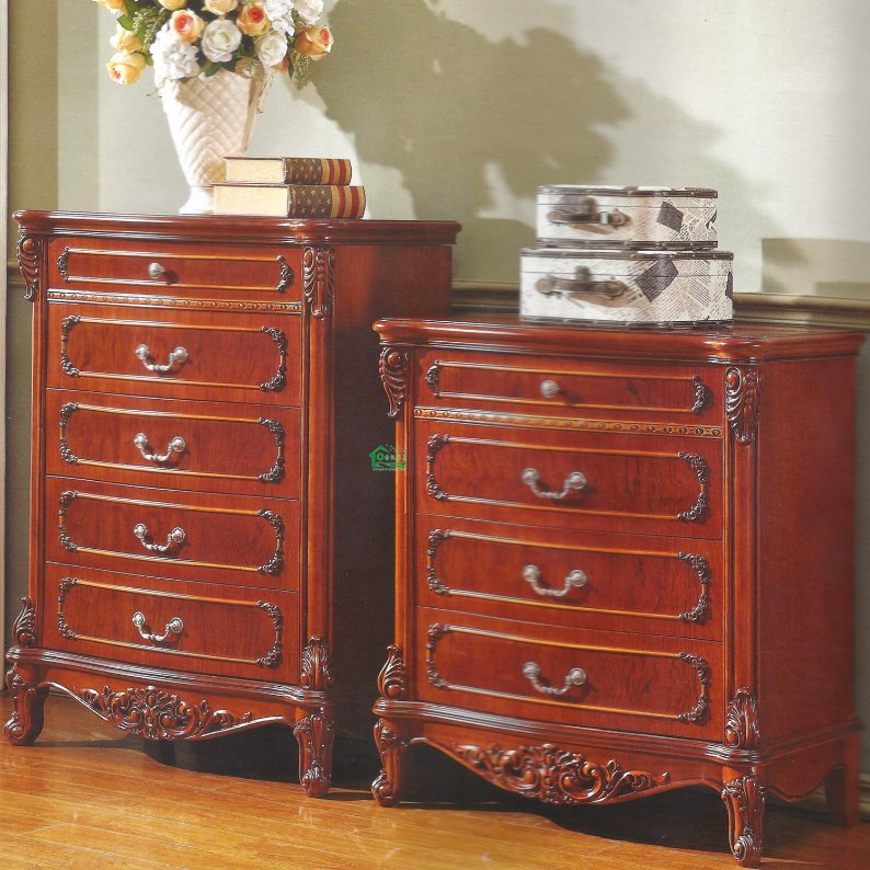 Bedroom Set with Wood Flower Stand Cabinet