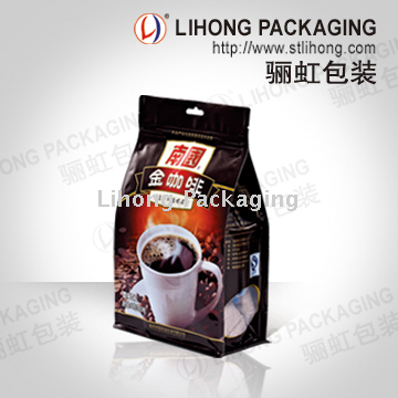 Custom Printing Flat Bottom Pouch Packaging Coffee Bag With One Way Degassing Valve