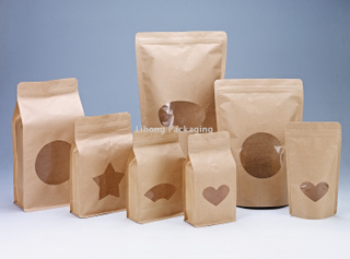 Kraft Paper Standing Pouch Coffee Flat Bottom Bag With Zipper and Window