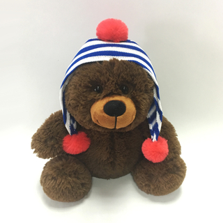 Plush Christmas Brown Bear with Hat