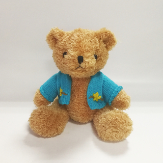 Cute Brown Teddy Bear Toys with Blue Sweater Kids Toys