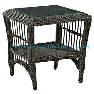 Black Round Rattan Side Table Outdoor Furniture