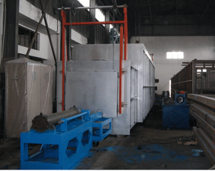 pusher type hardening and tempering furnace for steel castings