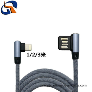 Double Elbow Cloth Braided Charging Data Cable for iPhone