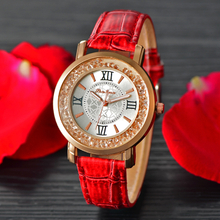 Fashion women Watches Leather Strap Lady Watch Pink White red Leather Watch Cestbella