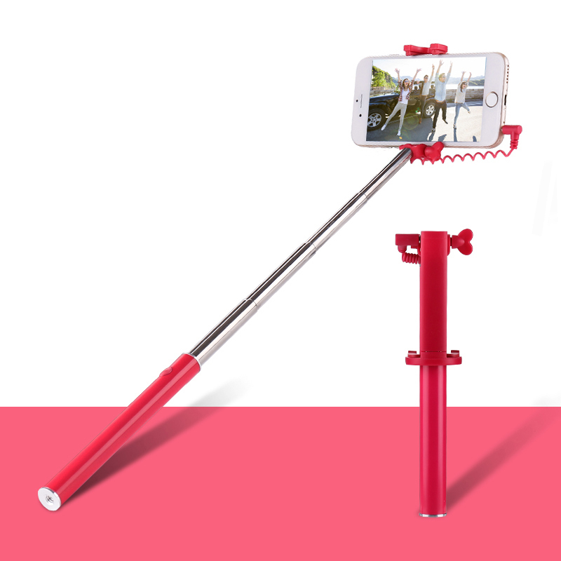 Colorful Handheld Selfie Stick for Smartphone Monopod with Cable for Mobile Phone