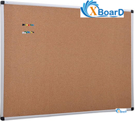 XBoard Aluminum Frame Wall-Mounted 48 x 36 Inch Cork Board Tack Board with 10 Colorful Push Pins for Display and Organization