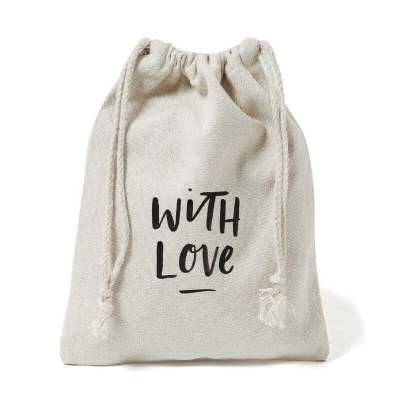 Natural Color Recycled 100%Cotton Drawstring Pouches
