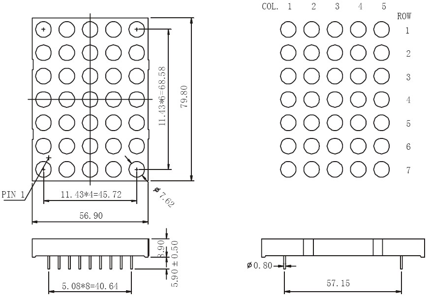 3 inch 5x7 dual color dot matrix led display datasheet  price  dimensions  circuit and how to