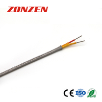 Fiberglass insulated thermocouple extension wire with metal overbraid-- Single pair, Flat