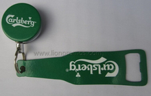 Beer Carlsberg Logo Promotional Gift Metal Opener with Traceable Reel
