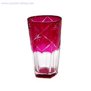 modern style mouth blown and handmade pink glass drinking cup