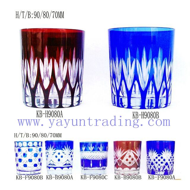 hand cut overlay colored glass tumbler