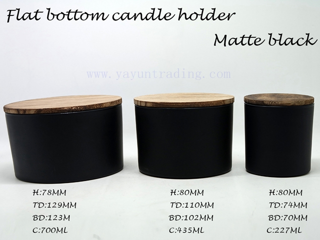 flat glass candle cup with timber lids
