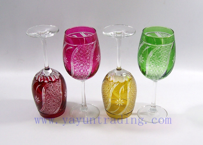 enbossed colored wine glass