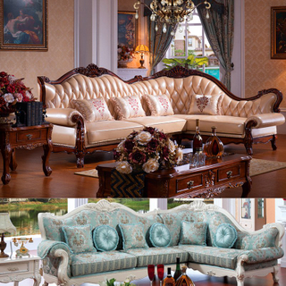 802 Wood Leather Corner Sofa Sets