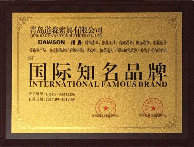 Certificado de marca internacional famoso - Dawson Group Ltd. - Hardware de elevação e aparelhagem