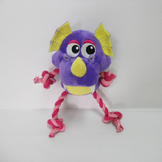Plush Purple Dinosaur Shaped Chew Interactive Dog Rope Toy