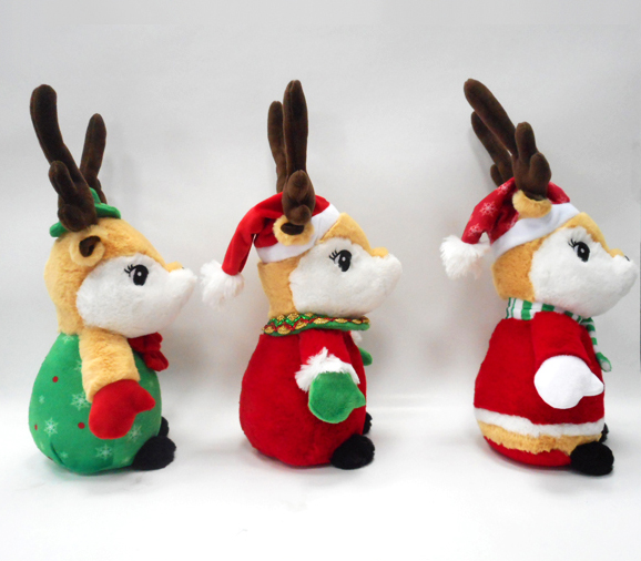 Customized Soft Plush Christmas Deer With Decorations
