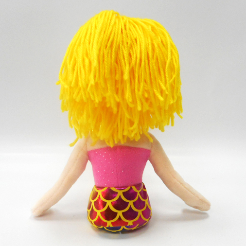 Fashion Yellow Hair Plush Mermaid Toy Doll For Girls