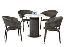 Outdoor Dinng Set Quartz Stone Table and Rattan Chairs