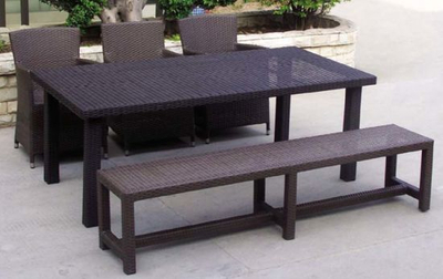 Outdoor Furniture Rattan Bench and Table