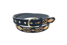 Black PU leather +suede embroidery belt with high quality bronze accessory AFL71062