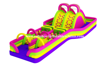 RB5013(12x8m)Inflatable Long Obstacle Course,Inflatable Obstacle with Climbing Wall