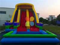 Outdoor Commercial Inflatable High Water Slide with Swimming Pool for Kids