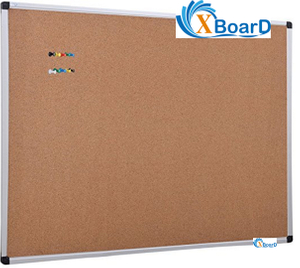 XBoard Wall-Mounted Office Cork Notice Bulletin Board with Aluminum Frame, 36 x 24 Inch, 10 Colorful Push Pins Included