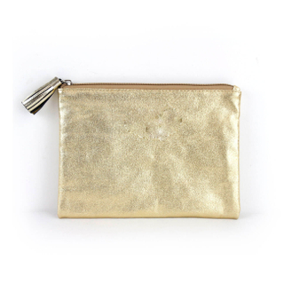 Laminated Gold Canvas Make up Bag