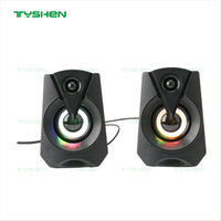 LED RGB Gaming Speaker, 2.0 Channel, Plastic Housing Case, Mini Size