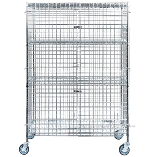 "4-Tires Mobil Chrome Wire Security Cage Kit 24"" x 48"" x 69"" with Locker"