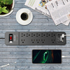 Surge Protector 12 Outlets 2 USB Ports Black