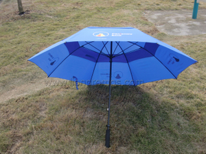Bank Business VIP Gift Fiberglass Frame Two Layers Wind Proof Golf Umbrella
