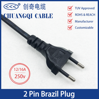 2 Pin Brazil Plug 12/16A Brazilian Inmetro Power Cord with Cable TUV Approved