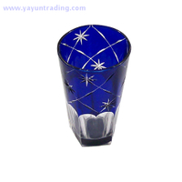 exquisite dark blue cut to clean glass tableware drinking glass cup for wedding