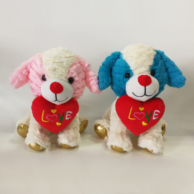 Sweet Couple Prone Dog Puppy Soft Stuffing Toys