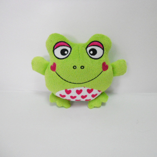 Mini Plush Frog Shaped Sound Chew Squeaker Interactive Pet Toy
