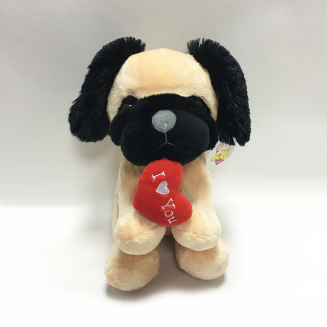 Custom Valentine Day Light Brown Plush Toys Pug Dog for Adults