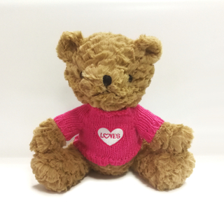 Stuffed Teddy Bears with Pink Cloth Embroidered Love Toys